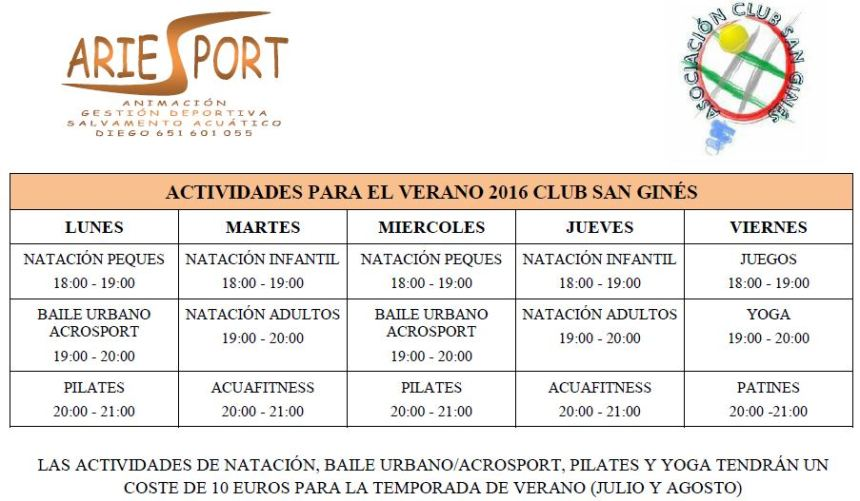 actividades verano club san gines 2016