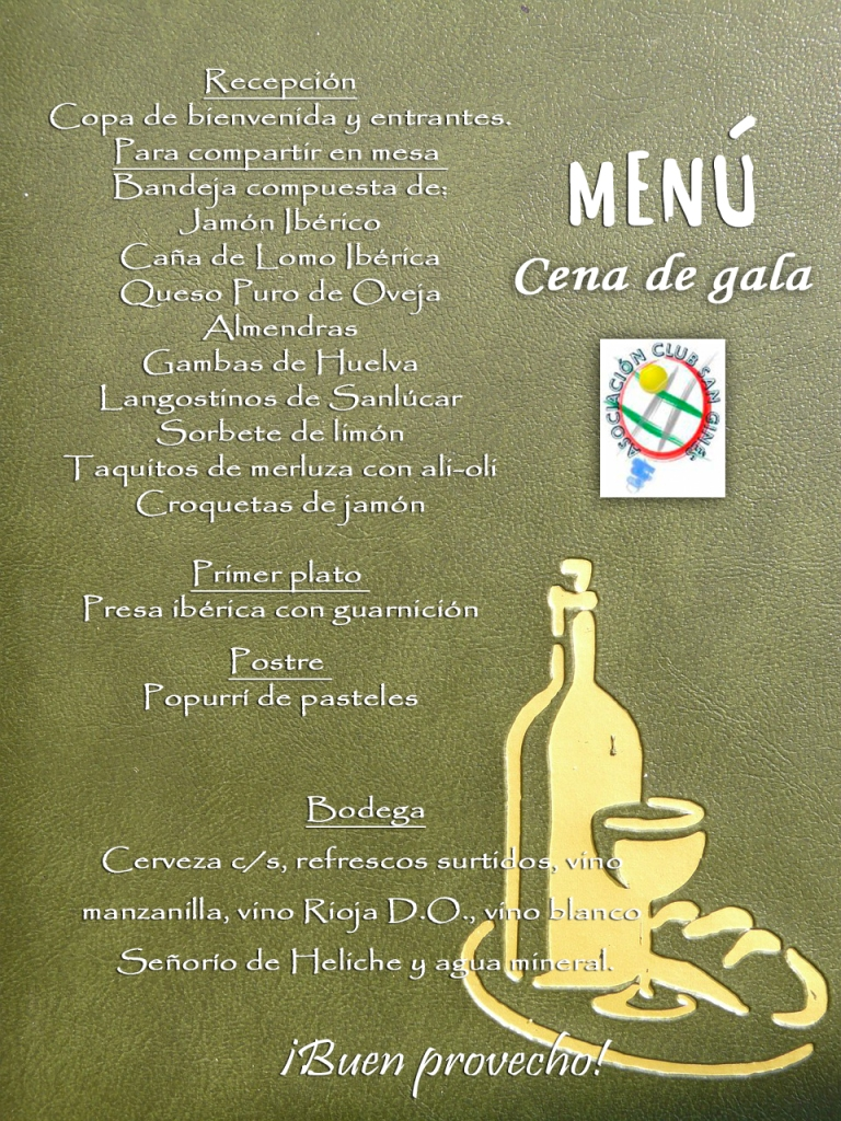 carta menu cena gala club san gines